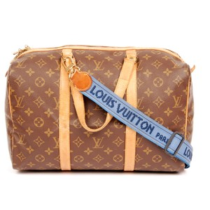 Louis Vuitton Monogram Sac Souple Luggage Canvas Leather Brown Travel Bag