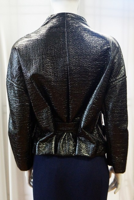 Christian Lacroix New S/S 2008 Runway Glossy Open Front Belted Large 42 Italy Black Jacket