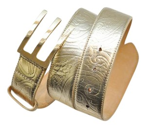 Etro Metallic gold leather belt