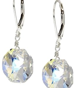 Swarovski Elements Sterling Silver with Swarovski Elements Crystal Aurora Borealis Octagon Earrings