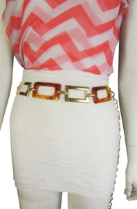 Other Women Wide Geometric Belt Gold/ Brown Squares Metal Plates S/M