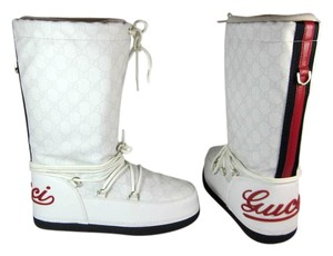 Gucci White Leather Gg Mid Ski Boots