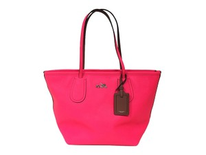 Coach Taxi Large Crossgrain Leather Tote in Neon Pink