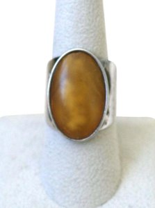 AMBER COMPOSITE STONE WIDE STERLING SILVER VINTAGE BAND RING
