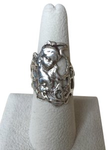 ART NOUVEAU STYLE VINTAGE STERLING SILVER RING BEAUTIFUL WOMAN