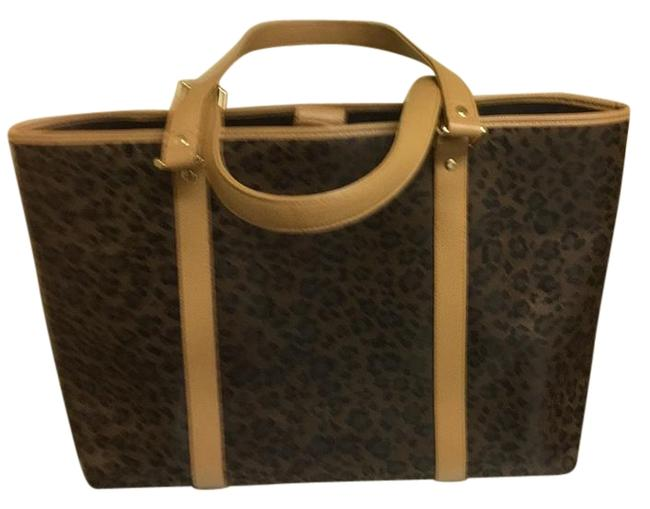 Item - Large Dark Tan Black Leopard Tote