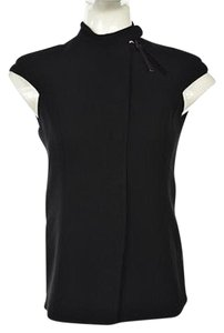 Emporio Armani Womens Cap Sleeve Casual Shirt Top Black
