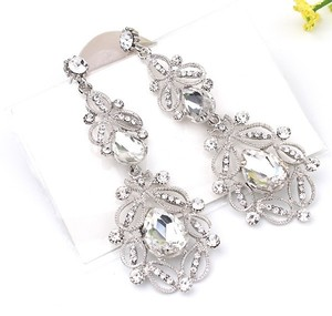 Big Long White Crystal Drop Earrings Vintage Flower Bride Wedding