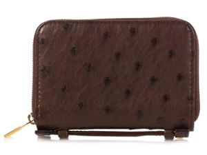 Loro Piana Brown Ostrich Mini Pochette Zip Wallet