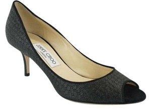 Jimmy Choo 6110401 Glitter Lame Peep Toe Dressy Black Pumps