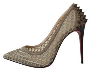 Christian Louboutin Guni Mesh Spiked So Kate Tan Nude Pumps