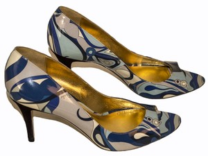 Emilio Pucci navy / gray / cream Pumps