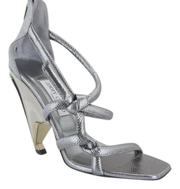 Item - Silver Leather Kissy Knot Strappy Metallic Snake High Sandals Size EU 39.5 (Approx. US 9.5) Regular (M, B)