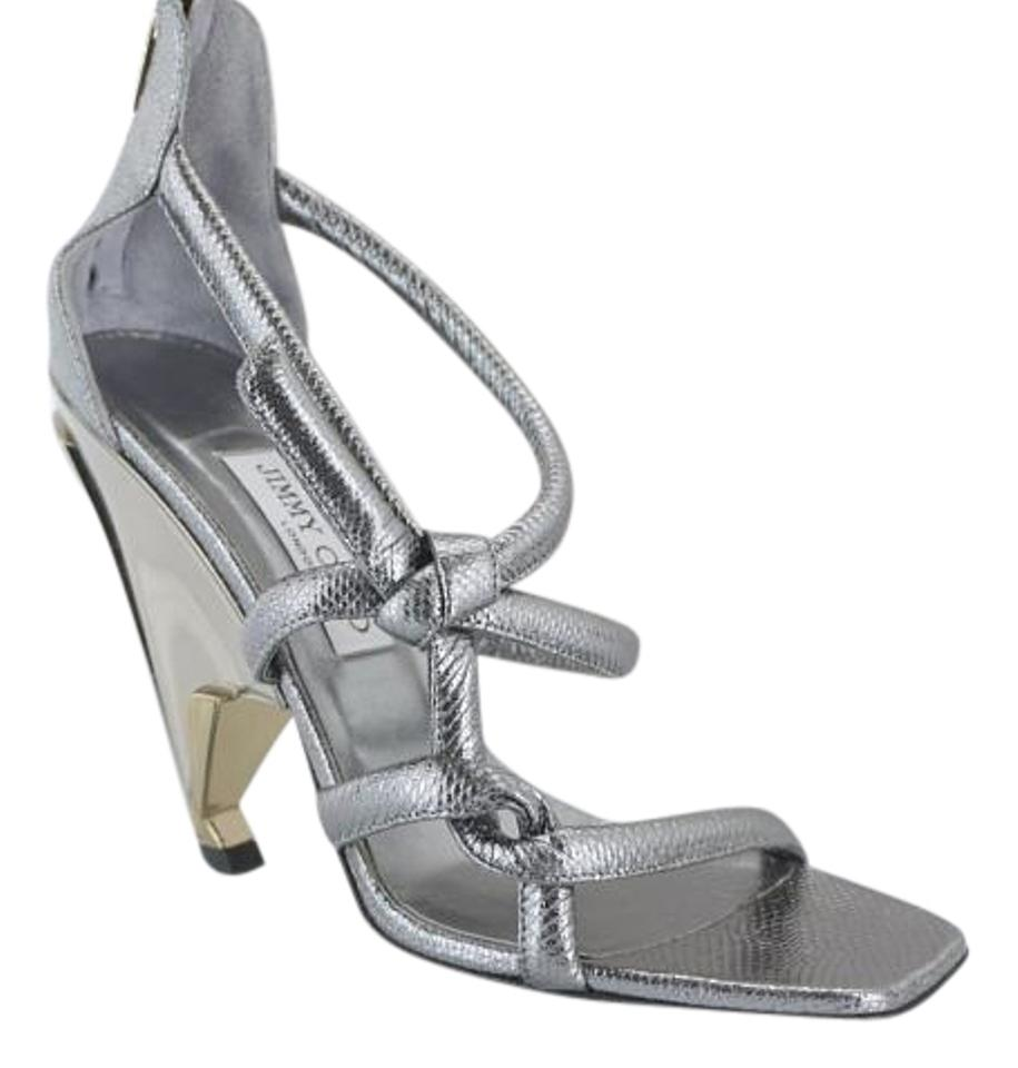 64bbc0735 Jimmy Choo 6110410 Pump Contoured Heel New In Box Silver Sandals Image 0 ...