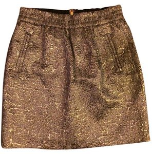 Ann Taylor LOFT Metallic Mini Holiday Pencil Mini Skirt Gold