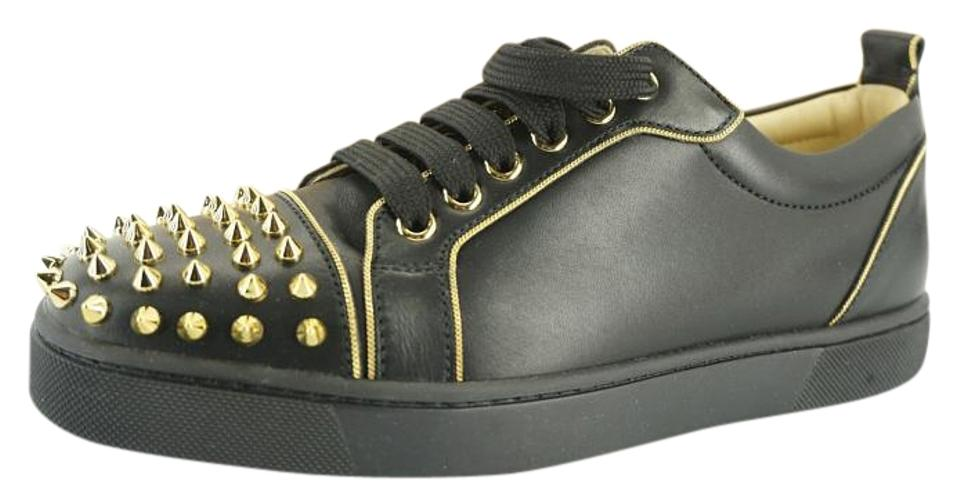 sports shoes 8fcd4 c7a14 Christian Louboutin Black Leather Rush Gold Spiked Low Top Sneakers Size EU  39 (Approx. US 9) Regular (M, B) 43% off retail