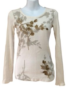 Lucky Brand Metallic Gold Embellished Sequin Beaded T Shirt Ivory