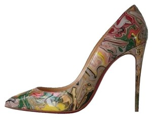 Christian Louboutin Pigalle Follies 100 Marble Yellow, Red, Green Pumps