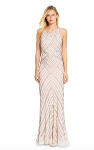 Adrianna Papell Rose Adrianna Papell Women's Halter Geo Beaded Gown Dress