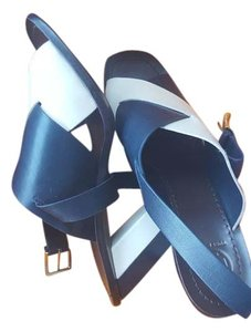 Tory Burch Navy and Beige Sandals