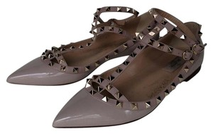 Valentino Studded Leather Pointed Toe Nude Flats