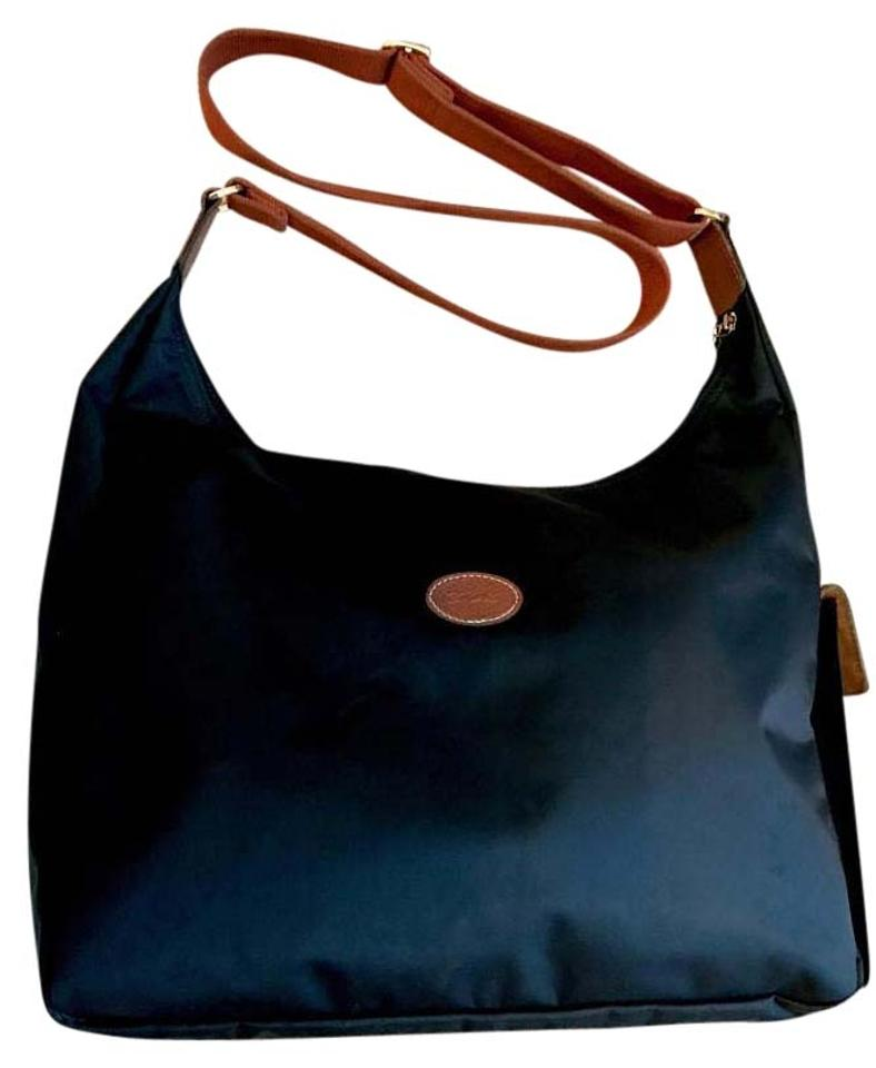 23d8b332a2f1 Longchamp Pliage Hobo Side Pocket Shoulder Black with Brown Trim and Strap  Nylon Leather Cross Body Bag