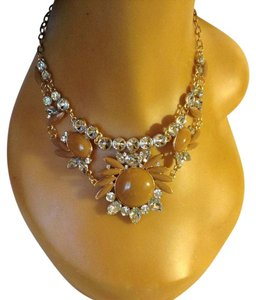 Other Gold Tone Beige Clear Choker Necklace