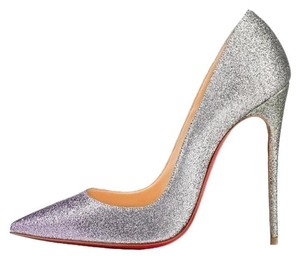 Christian Louboutin So Kate Glitter Purple Drage Silver Pumps