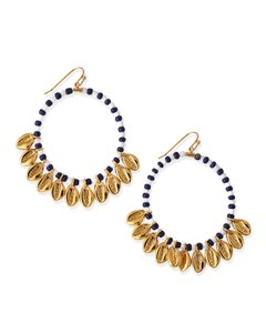 Tory Burch Tory Burch Blue Mikah Beaded Hoop Earrings