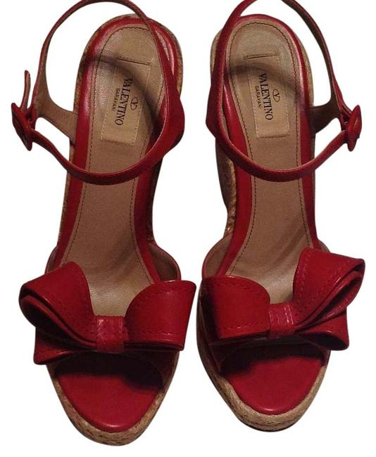 Item - Red Bow Leather Wedges Size EU 39 (Approx. US 9) Regular (M, B)