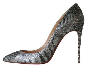 Christian Louboutin Pigalle Follies 100 Silver Pumps