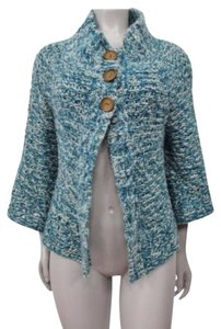 Free People People Metallic Knit Cardigan Wooden Button Blue White Gold Sweater