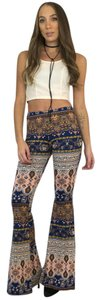 See You Monday Bell Yoga Boho Printed Flare Pants Navy, Peach