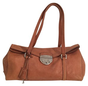Prada Untreated Leather Satchel in Caramel Brown