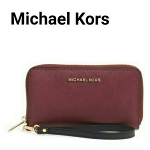 Michael Kors Saffiano Leather Wallet Burgundy Wristlet in wine