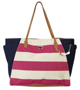 Tommy Hilfiger Canvas Striped Leather Tote in Multi