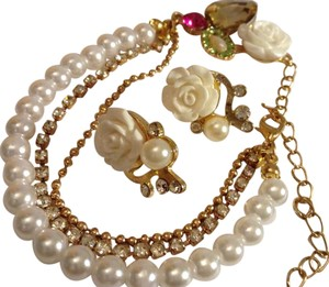 Other Gold Tone Faux Pearl White Red Pink Green Bracelet and 2 pr Earrings
