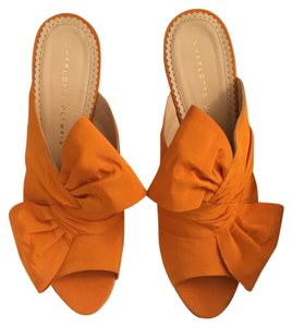 Charlotte Olympia Silk Orange Mules