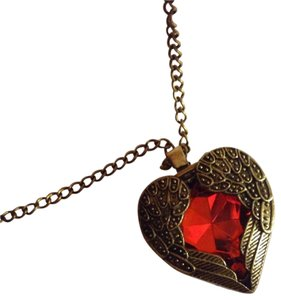 Other Antique Gold Red Charm Heart Chain Necklace