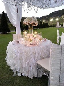 Ruffles Table Skirt Wedding Event Party Tablecloth Bridal Shower Baby