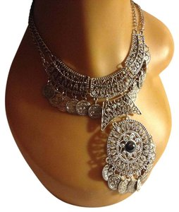 Other Gypsy Bohemian Vintage Coin Turkish Bib Statement Necklace (Silver)