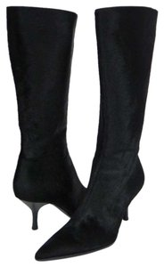 Sergio Rossi Pony Hair Fur Pointed Toe Knee High Leather Black Boots