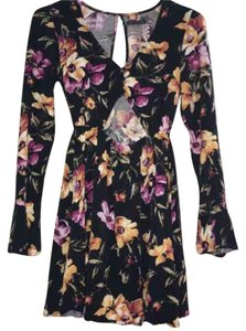 Kendall + Kylie short dress Black with flower print on Tradesy