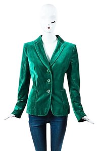 Moschino Moschino Cheap And Chic Emerald Green Velvet Buttoned Blazer