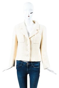 Chanel Chanel Cream Wool Woven Long Sleeve Button Up Blazer