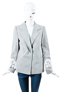 Louis Feraud Louis Feraud Black Gray White Wool Blend Patterned Lace Trim Blazer Jacket