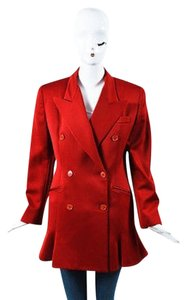 Norma Kamali Norma Kamali Red Wool Double Breasted Long Sleeve Button Up Blazer
