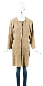 Elie Tahari Taupe Suede Leather Embroidered Long Sleeve Coat Beige Jacket