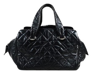 Chanel Glazed Caviar Leather Quilted Cc Large Bowler Satchel in Black