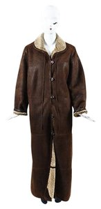 Giorgio Armani Dark Shearling Button Up Collared Long Coat